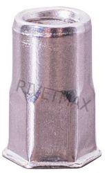 Заклепка резьбовая  полушестигранная с уменьшенным бортом М8 L17,5 нержавеющая